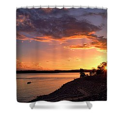 Shower Curtain featuring the photograph Table Rock Sunset by Cricket Hackmann