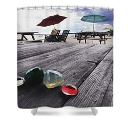 Table Stones And Beach Umbrellas Shower Curtain