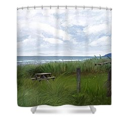Tables By The Ocean Shower Curtain