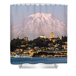 Shower Curtain featuring the photograph Tacoma And It's Gaurdian Mt Rainier by Rob Green