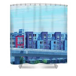 Tacoma Blues - Cityscape Art Print Shower Curtain by Jane Eleanor Nicholas
