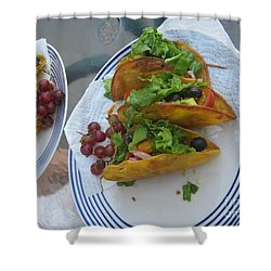Shower Curtain featuring the photograph Tacos Almost Mirrored by Marie Neder
