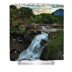 Tad Lo Waterfall, Bolaven Plateau, Champasak Province, Laos Shower Curtain by Sam Antonio Photography