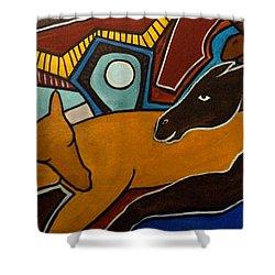 Taffy Horses Shower Curtain by Valerie Vescovi