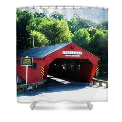 Taftsville Covered Bridge Shower Curtain