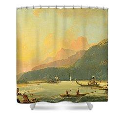 Tahitian War Galleys In Matavai Bay - Tahiti Shower Curtain by William Hodges