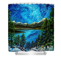 Shower Curtain featuring the painting Tahoe A Long Time Ago by Matt Konar