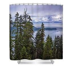 Emerald Bay With Steamboat Shower Curtain