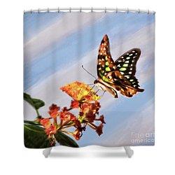 Tail Jay On Scarlet Milkweed Shower Curtain