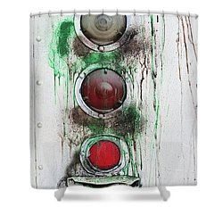 Shower Curtain featuring the photograph Taillights On A Very Old Bus by Gary Slawsky