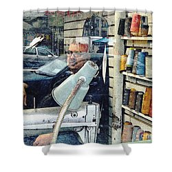 Tailor Shop Shower Curtain by Sarah Loft
