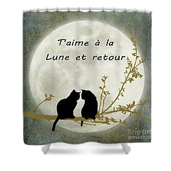 Shower Curtain featuring the digital art T'aime A La Lune Et Retour by Linda Lees
