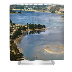Tairua Harbour Shower Curtain by Himani - Printscapes