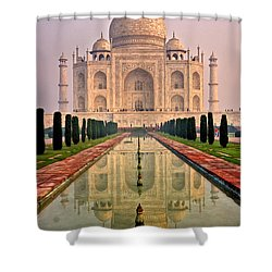 Taj Mahal At Sunrise Shower Curtain by Luciano Mortula