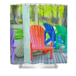 Take A Seat But Don't Take A Chair Shower Curtain by Jeff Kolker