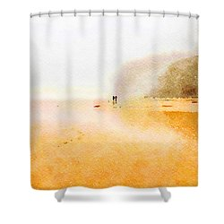Shower Curtain featuring the painting Take A Walk With Me by Angela Treat Lyon
