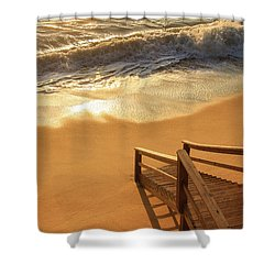 Take The Stairs To The Waves Shower Curtain