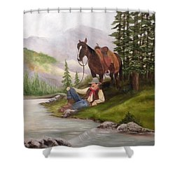 Taking A Break Shower Curtain by Marti Idlet