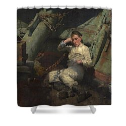 Shower Curtain featuring the painting Taking A Spell  by Henry Scott Tuke
