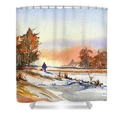 Taking A Walk Shower Curtain by Debbie Lewis