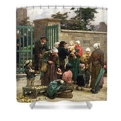 Taking In Foundlings Shower Curtain by Leon Augustin Lhermitte
