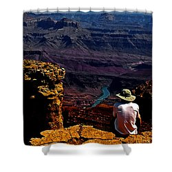 Shower Curtain featuring the photograph Taking In The View - Grand Canyon South Rim by George Bostian