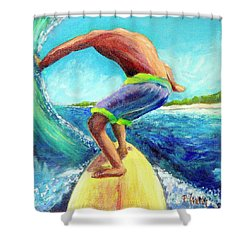 Shower Curtain featuring the painting Taking Off by Patricia Piffath