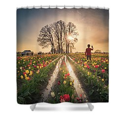 Shower Curtain featuring the photograph Taking Sunset Pictures Using A Mobile Phone by William Lee