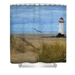 Shower Curtain featuring the digital art Talacre Lighthouse - Wales by Lianne Schneider