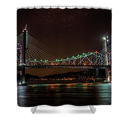 Tale Of 2 Bridges At Night Shower Curtain