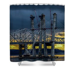 Tale Of 2 Bridges At Sunset Shower Curtain by Jeffrey Friedkin