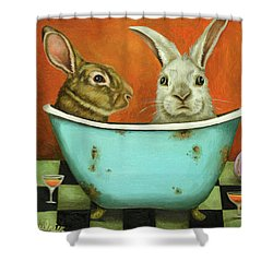 Tale Of Two Bunnies Shower Curtain by Leah Saulnier The Painting Maniac