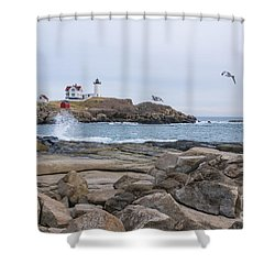 Tale Of Two Lighthouse Shower Curtain