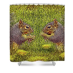 Tale Of Two Squirrels Shower Curtain by Joel Bruce Wallach