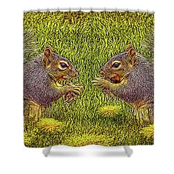 Tale Of Two Squirrels Shower Curtain