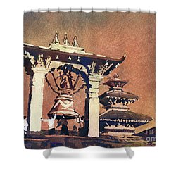 Shower Curtain featuring the painting Taleju Bell- Patan, Nepal by Ryan Fox