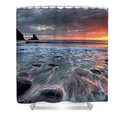 Shower Curtain featuring the photograph Talisker Bay Rocky Sunset by Grant Glendinning