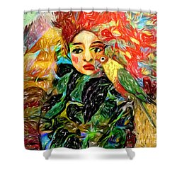Shower Curtain featuring the digital art Talk To Me by Alexis Rotella