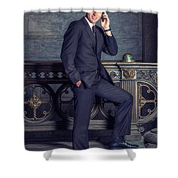 Talking On Phone Shower Curtain