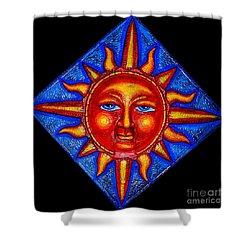 Talking Sun Shower Curtain by Genevieve Esson
