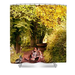 Talking To The Rabbit ... Shower Curtain by Louloua Asgaraly