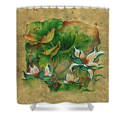 Shower Curtain featuring the painting Talks About The Essence Of Life by Anna Ewa Miarczynska