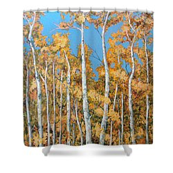 Tall Poplars Shower Curtain