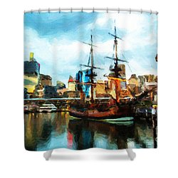 Shower Curtain featuring the painting Tall Ship Darling Harbour by Chris Armytage