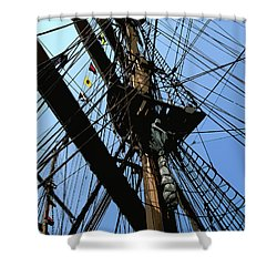Tall Ship Design By John Foster Dyess Shower Curtain