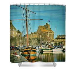 Tall Ship In Saint Malo Shower Curtain