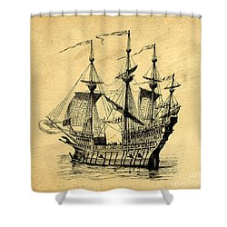 Shower Curtain featuring the drawing Tall Ship Vintage by Edward Fielding