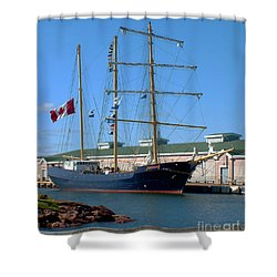 Tall Ship Waiting Shower Curtain by RC DeWinter