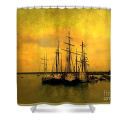 Tall Ships Of Dana Point Shower Curtain by Kevin Moore