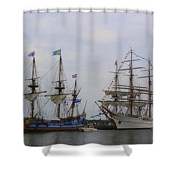 Historic Tall Ships Hermione And Sagres Shower Curtain